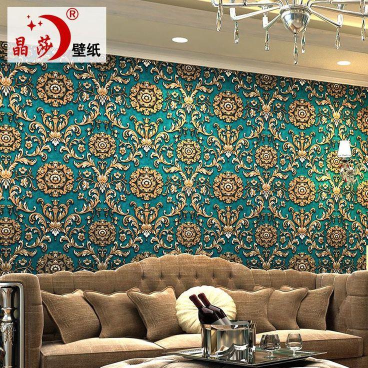 2015-style lujoso dormitorio salón TV fondo de la pared 3D papel pintado no tejido azul amarillo marrón verde gris púrpura(China (Mainland))