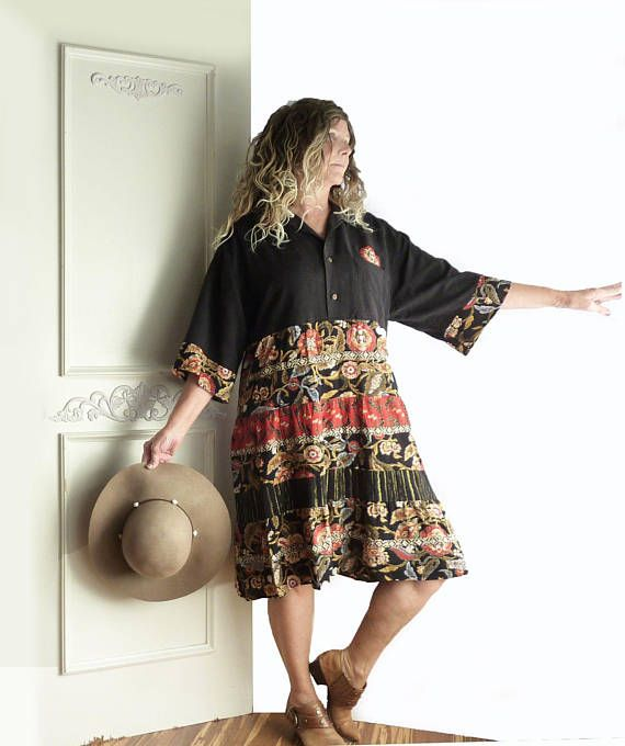 Unique plus size up-cycled reworked vintage Carole Little rayon skirt, repurposed Mens silk shirt, black red gold floral, gypsy, artsy, FREE SHIPPING We revamped this vintage Carole Little German rayon tiered skirt by adding it to a mens black silk shirt to create a super fabulous dress!