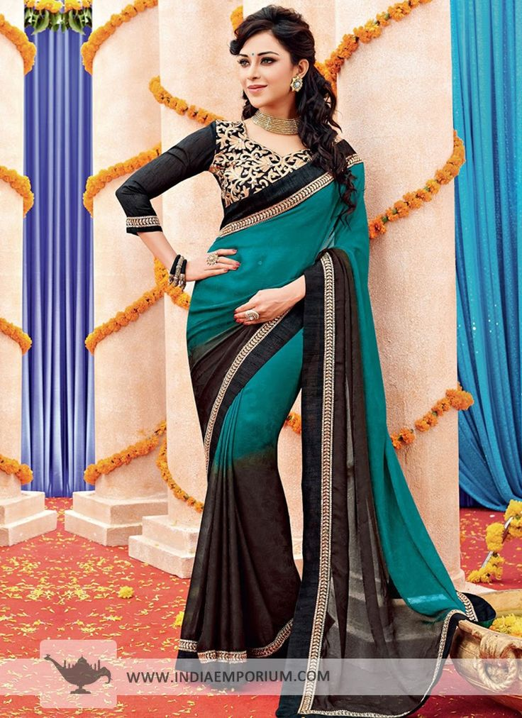 Brown & Green Crepe #Saree  #TanuWedsManuReturns