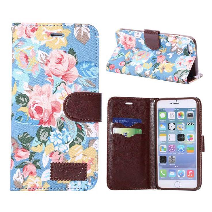 Bloemendesign blauw bookcase hoesje voor iPhone 6 Plus