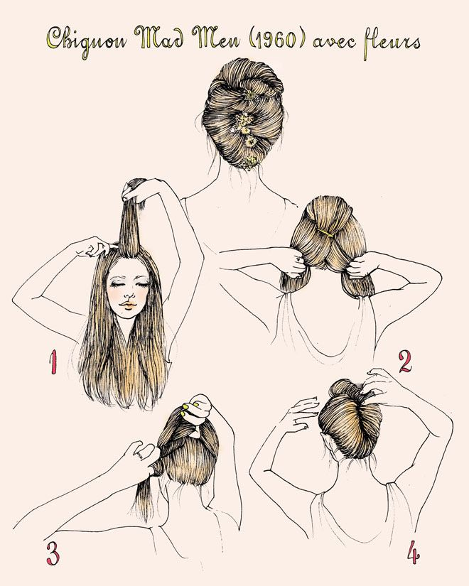 ChignonHair Down, Hair Tutorials, French Twists, Prom Hairstyles With Flower, Illustration Hair, Hairstyles Tutorials, Hair Style, 1960S Hairstyles For Long Hair, 1960S French