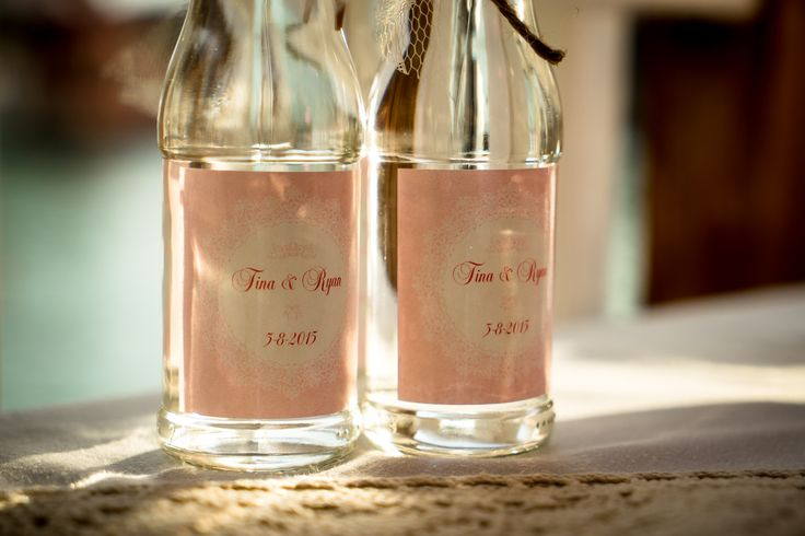 Drunk your guests with indivindual bottles of ouzo or another drink of your choice - Decorated with a beautiful label personalized  in your wedding theme  #weddingfavors #diyfavors #weddinginkefalonia