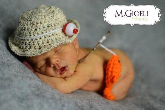 Gone Fishing Newborn Photo Prop Set- Baby fisherman- bucket hat – baby ideas