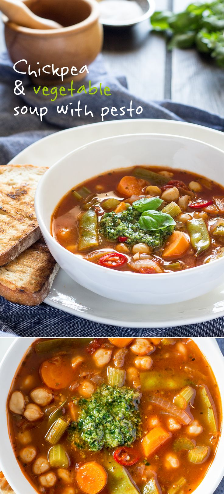 A delicious and #filling #soup with plenty of #vegetables and #chickpeas topped with a dollop of fragrant #parsley and #basil pesto. It's naturally #vegan and #glutenfree. #recipe #recipes #vegetarian #lunch #dinner #healthy