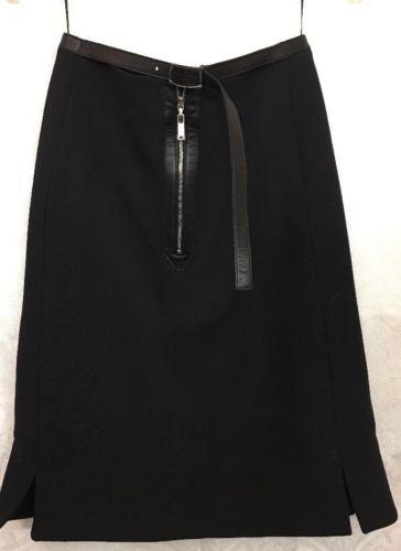Louis Vuitton Short Skirt A Line Lambskin Belt Zipper Wool Size 34 NWT $2260