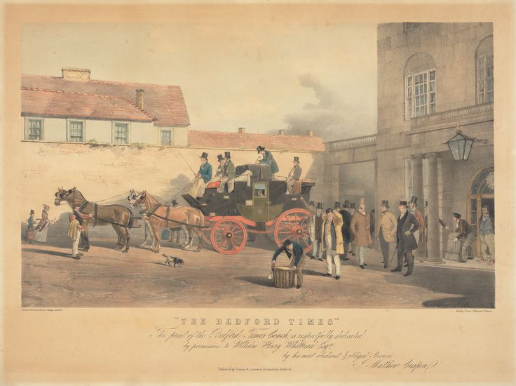 The Bedford Times Coach outside the Swan Inn. It travelled between London and Bedford. Print by Bradford Rudge, 1805–1885. Hand colored lithograph, Yale Center for British Art, Paul Mellon Collection  recto