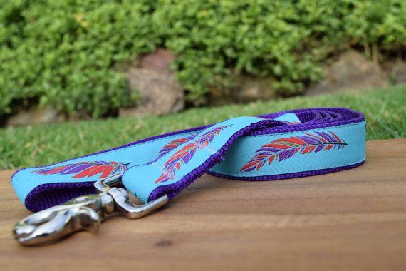 Feathers dog leash colourful dog lead in custom by DelaheyandCo