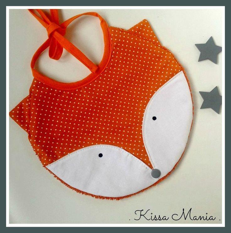 """Bavoir bébé 0-12 mois. """"Rouky"""" Joli bavoir renard en coton orange et éponge de coton orange."""