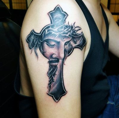 jesus cross tattoo by on deviantart hassified jesus ink. Black Bedroom Furniture Sets. Home Design Ideas
