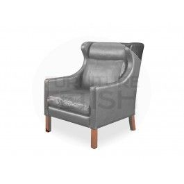 Replica Borge Mogensen 1 Seater Easy Chair - Black Aniline Leather