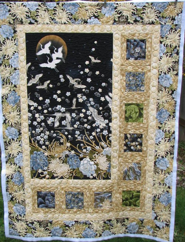 Matchless Asian quilting fabric panels what