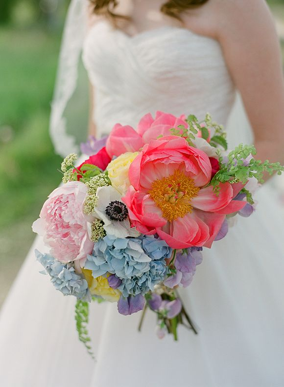 Pink blue, purple, and green bouquet | photography by Carrie Patterson