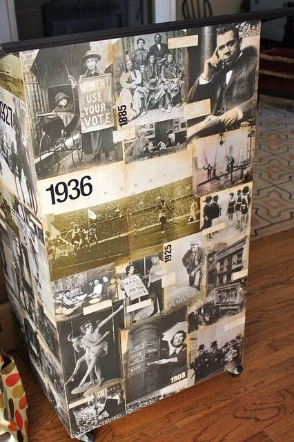 A podium for a history teacher's classroom covered with old book pages.