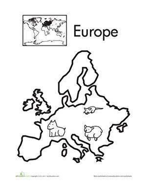 color the continents europe