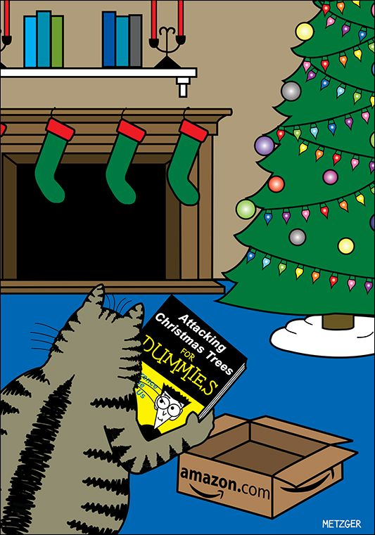 cat reads 'Attacking Christmas Trees for Dummies' | The ...