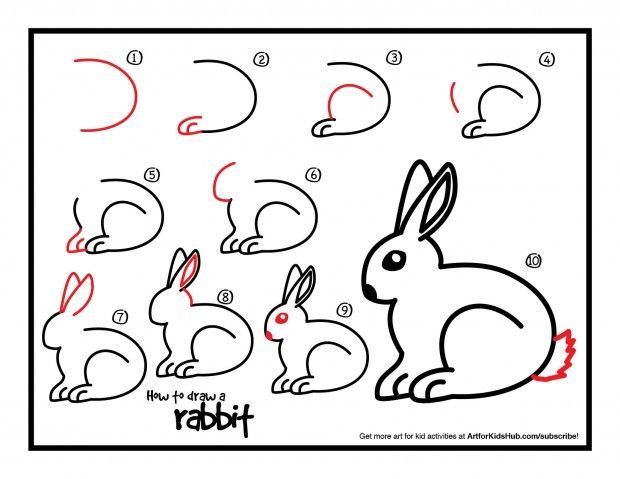 Super simple lesson on how to draw a rabbit for kids! Watch the short video, and download the free printable!