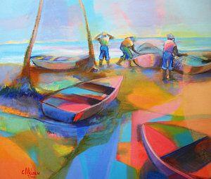 Trinidad Painting - Fishermen by Cynthia McLean