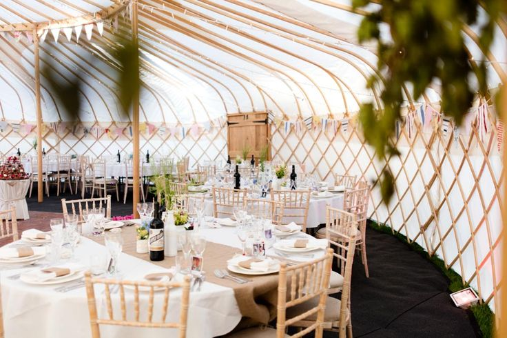 Laura and Dave's wedding yurt was supplied by Yorkshire Yurts, ake a look at her wedding now on the UK's most stylish wedding blog, Style & the Bride,