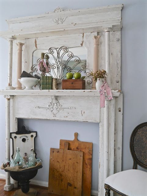 Salvaged Fireplace Surround - who needs a working fireplace? - Chateau Chic: Last Home Tour Before Moving