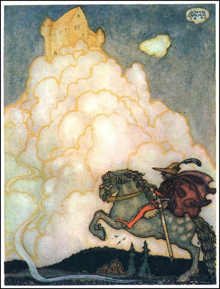 illustration jeunesse suédoise : John Bauer, contes suédois. 1911, cavalier, nuages: