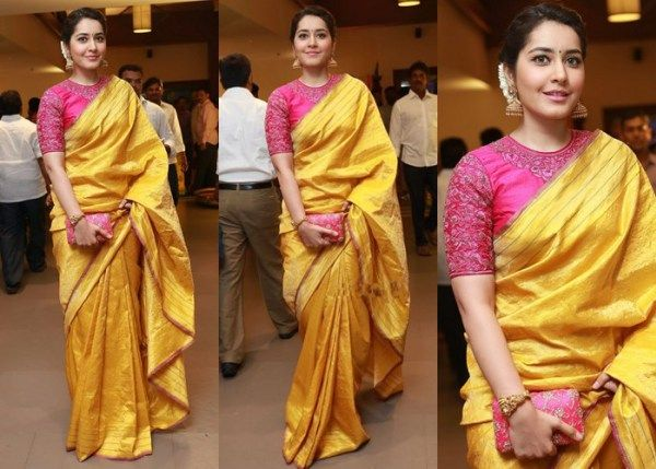Raashi Khanna in Silk Saree at Krish's wedding ceremony