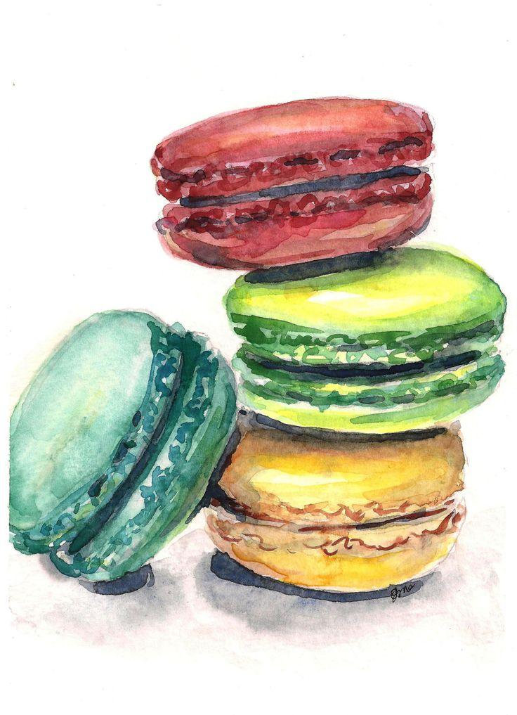 Macaron painting macaroon art watercolor painting kitchen art french decor. $45.00, via Etsy.