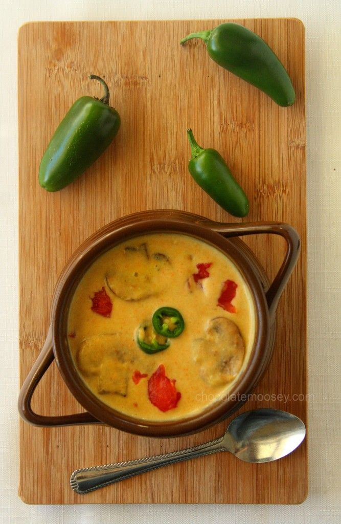 Roasted Jalapeno Soup - a creamy and spicy soup with a base of carrots and roasted jalapenos that will warm you up even on the coldest day