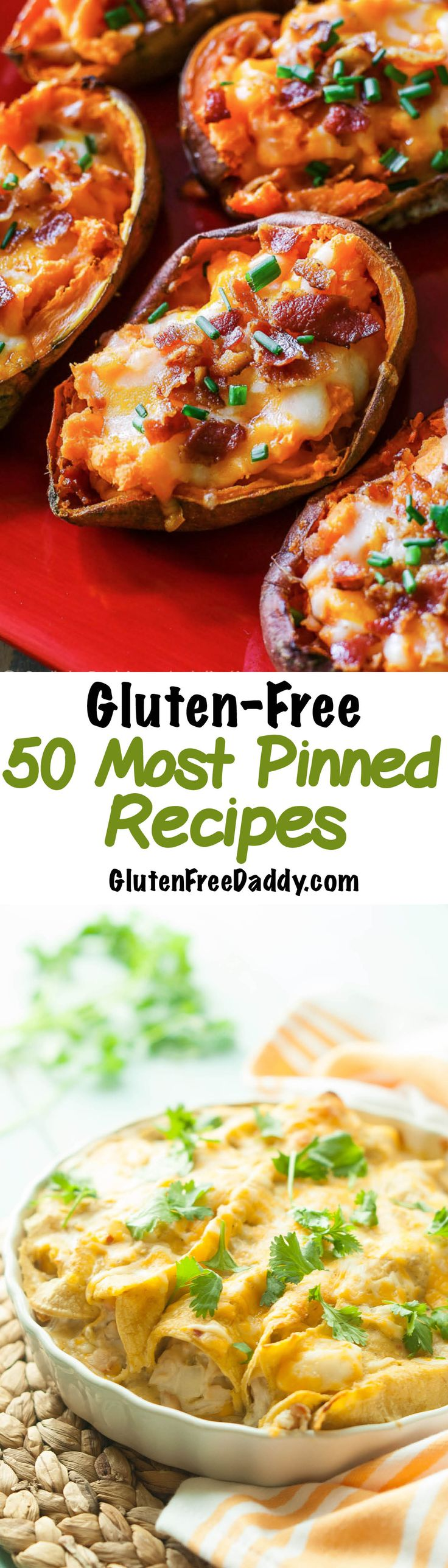 The 50 Most Pinned Gluten Free Recipes - I can't believe these are all gluten free! There are so many good options on this page - and you know if they have been pinned at least 50,000 times then they must be good.