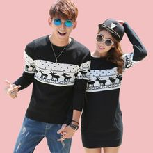 2016 Christmas Costumes Winter Men's Women O-neck Long Sleeve Sweaters and Pullovers Matching Deer Couple Christmas Sweaters(China (Mainland))