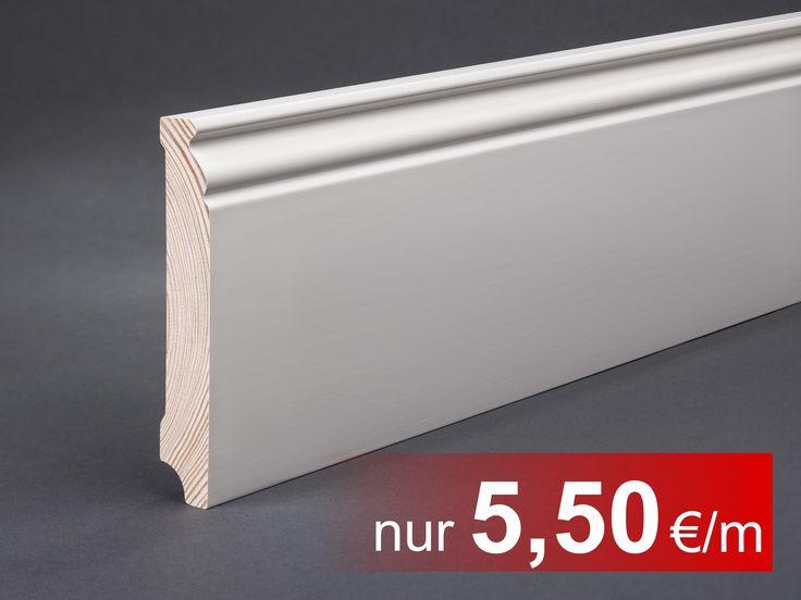 Massivholz weiß lackiert 118x19x2400 mm Berliner- / Hamburger Profil