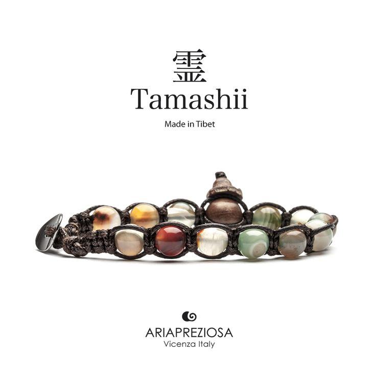 Bracciale originale tibetano Tamashii realizzato con pietre naturali AGATA STRIATA MUSCHIATA.