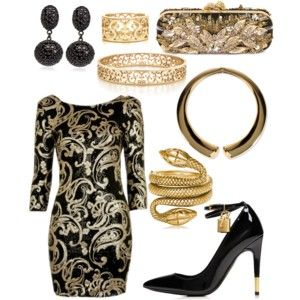Black and Gold dress for all year around events.