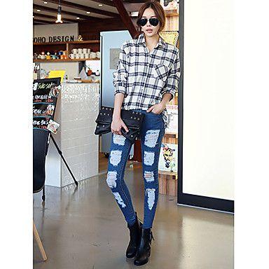Korean street fashion:  Women'S Ripped Skinny Jeans  #koreanfashion #tomnrabbit #crgang