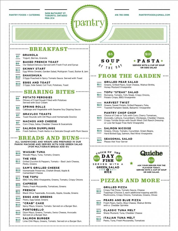 Branding Toronto's Pantry. The Pantry's menu design