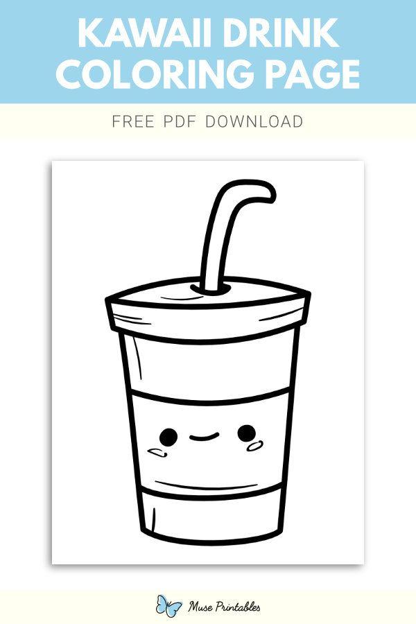 Free Printable Kawaii Drink Coloring Page Download It At Https