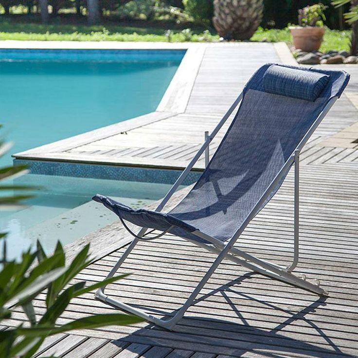 Transat pliant CHILIENNE couleur Blanc Sand et Jean's - Maison Facile : www.maison-facile.com
