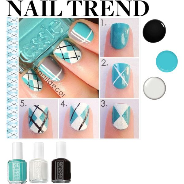 Nail Trend: Argyle Nails by hybrid-rainbow on Polyvore featuring polyvore, beauty, Essie, NARS Cosmetics, Seche and De la Crème