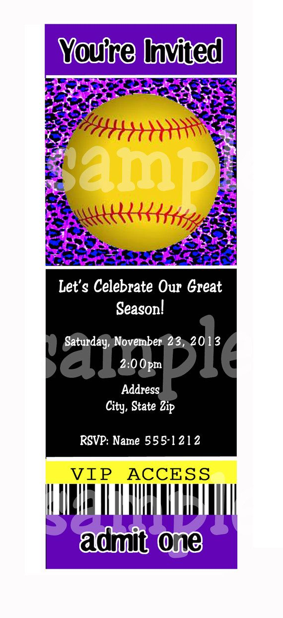 SOFTBALL PARTY Invitations  End Of Season Party by AllSports, $10.00