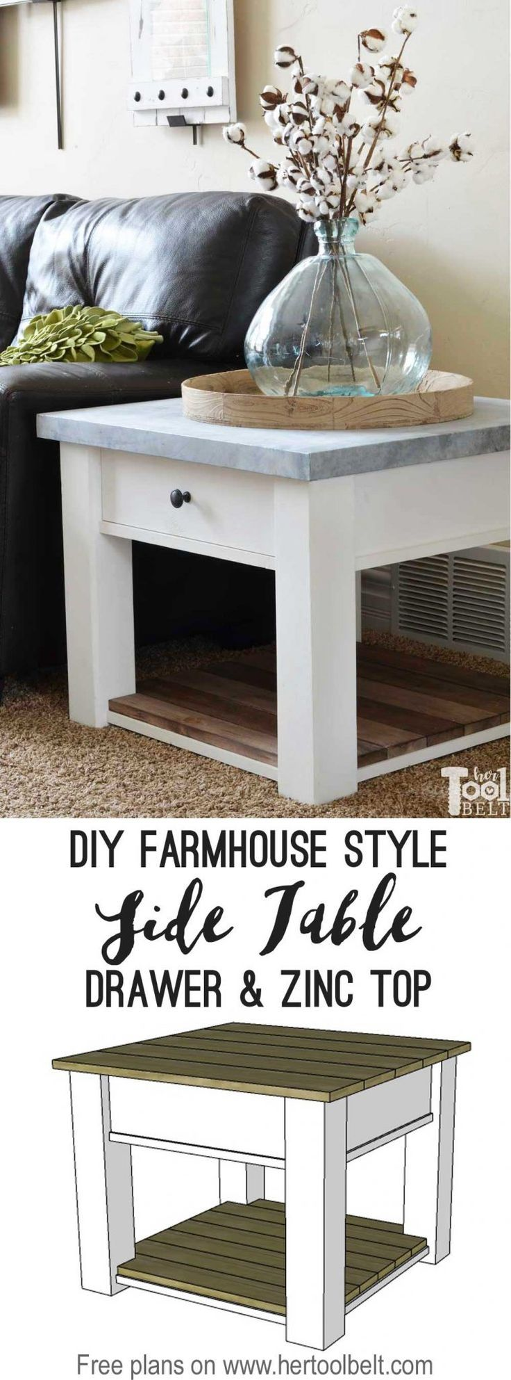 DIY Woodworking Ideas DIY farmhouse side table tutorial and free plans with optional drawer and zinc t...