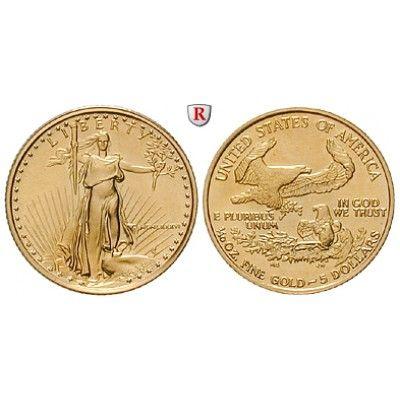 USA, 5 Dollars seit 1986, 3,11 g fein, st: 5 Dollars 3,11 g fein, seit 1986. Eagle - 1/10 Unze. GOLD, stempelfrisch, Tagespreis… #coins