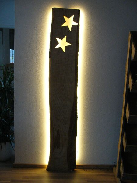 XXL+Wandleuchte+Sterne+Holz+inkl.+Led+Beleuchtung+von+PeKa-+Ideen+auf+DaWanda.com