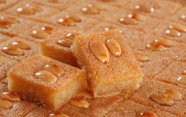 Nummoora is simple semolina and yogurt dessert recipe famous in the Arab world that children love. In some regions it is sold on the streets.
