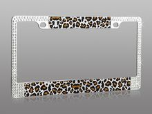 Rhinestone Leopard car license plate frame holder available at CarDecor.com.