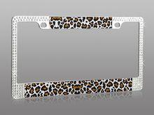 Rhinestone Leopard car license plate frame holder available at CarDecor.com.