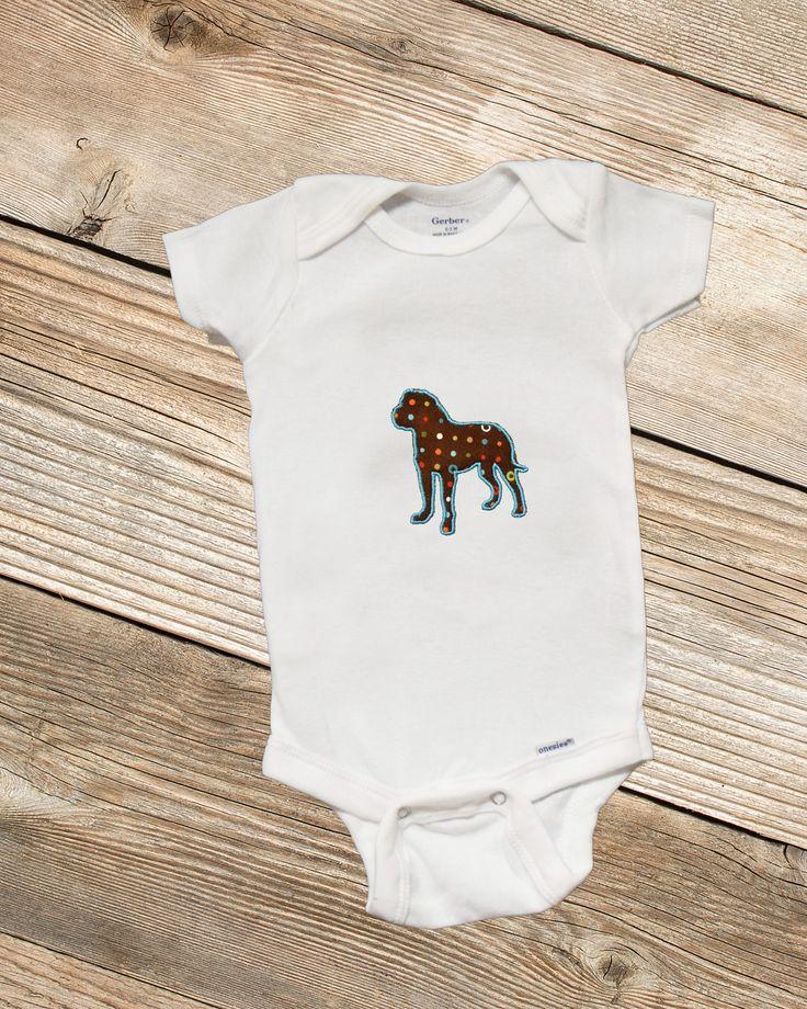 Bull Mastiff Applique Onesie, embroidered onesie, embroidered bodysuit, embroidered baby clothing, baby clothing , embroidered clothing, dog by SewCami on Etsy https://www.etsy.com/listing/517261266/bull-mastiff-applique-onesie-embroidered