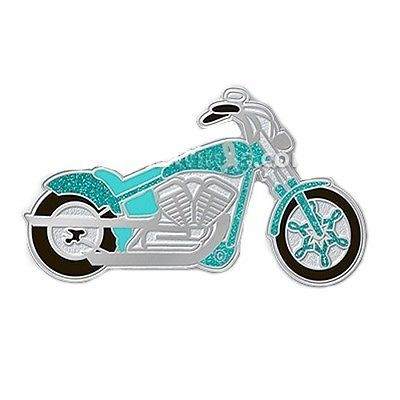 Teal Ribbon Motorcycle Pin Awareness Cancer Causes Ride for Cure Sparkles New