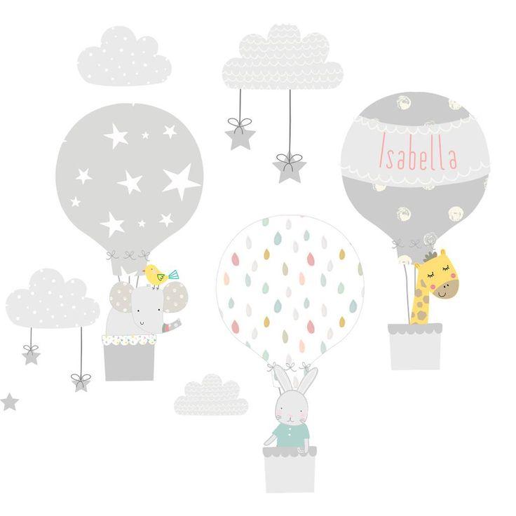 Grey Hot Air Balloon Fabric Wall Stickers