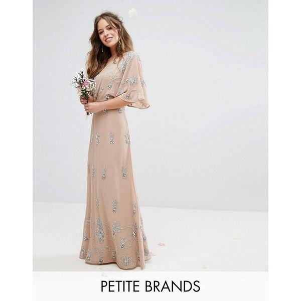 Maya Petite One Shoulder Embellished Maxi Dress (£145) ❤ liked on Polyvore featuring dresses, petite, pink, petite cocktail dress, cocktail maxi dresses, chiffon maxi dress, petite length maxi dresses and embellished cocktail dress