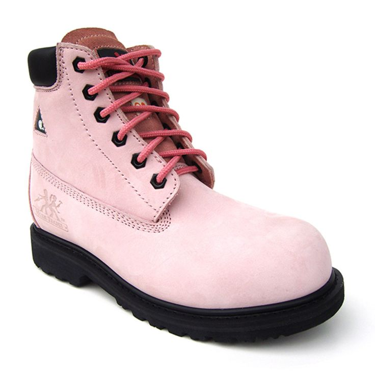Pink Women's Work Boots Betsy Xtreme Metal Free 6″  $139.99  Nubuck leather upper Genuine goodyear welt construction Composite toe Composite plate Plastic eyelets Spanco anti-bacterial lining Removable dual density PU insole
