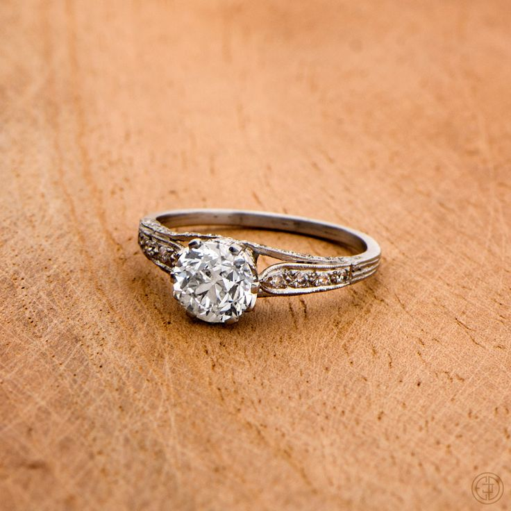 A beautiful and rare old European cut diamond engagement ring.  Sold by Estate Diamond Jewelry